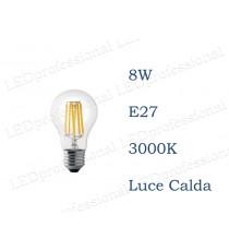 Lampadina LED Wiva filamento 8w E27 luce calda 3000k equivalente a 60w Goccia Chiara