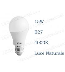 Lampadina LED Wiva 15w E27 luce naturale 4000k equivalente a 100w Goccia Opale