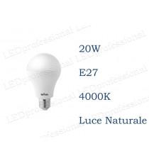 Lampadina LED Wiva 20w E27 luce naturale 4000k equivalente a 130w Goccia Opale