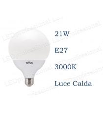 Lampadina LED Wiva 21w E27 luce calda 3000k equivalente a 140w Globo Opale
