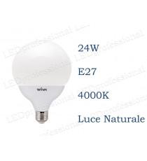 Lampadina LED Wiva 24w E27 luce naturale 4000k equivalente a 160w Globo Opale