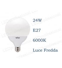 Lampadina LED Wiva 24w E27 luce fredda 6000k equivalente a 160w Globo Opale