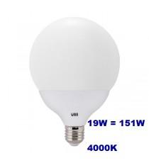 Lampadina LED Wiva 19w E27 luce naturale 4000k equivalente a 151w Globo Opale