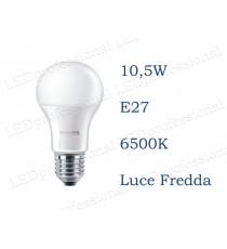 Lampadina LED Philips 10,5w E27 luce fredda 6500k corepro equivalente a 75w Goccia