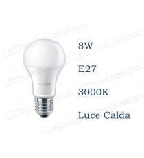 Lampadina LED Philips 8w E27 luce calda 3000k corepro equivalente a 60w Goccia