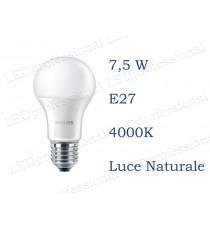 Lampadina LED Philips 7,5w E27 luce naturale 4000k corepro equivalente a 60w Goccia