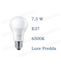 Lampadina LED Philips 7,5w E27 luce fredda 6500k corepro equivalente a 60w Goccia