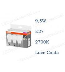 Set da 3 lampadine LED Osram 9,5w E27 luce calda 2700k equivalente a 60w