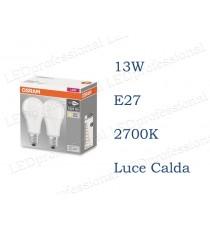 Set da 2 lampadine LED Osram 13w E27 luce calda 2700k equivalente a 100w