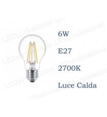 Lampadina LED Philips 7,5w E27 filamento classic sostituisce 60W 2700K luce calda Goccia Chiara