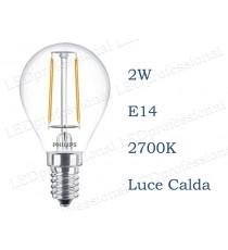 Lampadina LED Philips 2w E14 luce calda 2700k classic equivalente a 25w Sfera Chiara