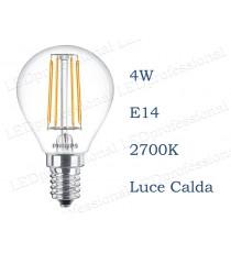 Lampadina LED Philips 4w E14 luce calda 2700k classic equivalente a 40w Sfera Chiara