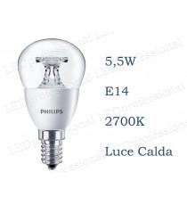 Lampadina Philips Corepro LEDLuster 5,5w E14 luce calda 2700k equivalente a 40w Sfera Chiara